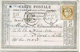 FRANCE CARTE POSTALE PRECURSEUR AFFRANCHIE AVEC UN N°55 OBL. GC 4303 DEPART VITRY-EN-ARTOIS 19 AOUT 73 POUR LA FRANCE - Entiers Postaux