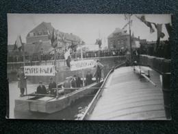 Ieper - Ypres - Yper : Fotokaart Inhuldiging Van De Kaai ( Met Spandoek Brouwerij Vermeulen ) TOPKAART !!!! - Ieper