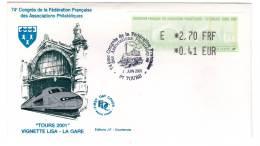 FDC - LISA - FFAP - TOURS 2001 - 1999-2009 Abgebildete Automatenmarke