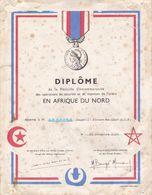Diplôme De La Médaille Commémorative Des Opérateurs De Sécurité Et De Maintien De L'ordre En Afrique Du Nord 1956 - Diplômes & Bulletins Scolaires