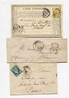 YONNE De AUXERRE GC 249 Sur N°60 Sur Env. De 1875+ Taxe 30 Sur LSC De 1869+ Dateur T 17 Sur CP De 1876 - 1849-1876: Classic Period