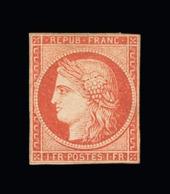 FRANCE N° 7 1f Vermillon. Aucun Filet Entamé. Aucun Clair.Infimes Petites Taches Au Verso. Neuf (*). Cote Yt 55000 €.TTB - 1849-1850 Cérès