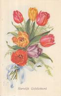 Fantasiekaart - Hartelijk Gefeliciteerd  - Color/kleur - Gebruikt/gebraucht/used - Verjaardag