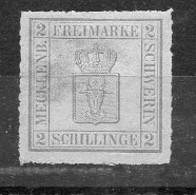 AD Mecklenburg- Schwerin 1867  MiNr. 6 B  (*)/ No Gum ; Freimarke Grau , Fehler! - Mecklenburg-Schwerin