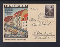 Dt. Reich PK Bausparen Gemeindesparkasse Lichtentanne 1939 Nach Plauen - Storia Postale