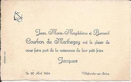 69 VILLEFRANCHE-sur-SAÔNE - Faire-Part De Naissance De Jacques COURBON De MARTHEZEY - Le 30 Avril 1934 - A Voir ! - Birth & Baptism
