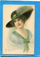 MARCO-Illustrateur- SUPERBE Portrait De Femme -avec Grand Chapeau à Plume -année 1910-20 - édition  C Cm - Illustrateurs & Photographes