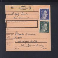 Dt. Reich Paketkarte 1944 Sarben Scharnikau An Arbeitslager Drutte - Besetzungen 1938-45