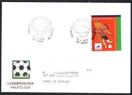 BUREAU TEMPORAIRE LENS 21/6/1998 Concordante Lens 98 Allemagne-Yougoslavie - Marcophilie (Lettres)