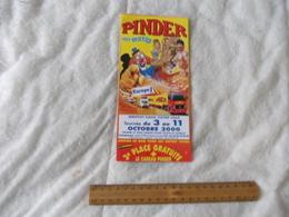 Dépliant Publicitaire Du Cirque Pinder Tournée Octobre 2000 - Pubblicitari