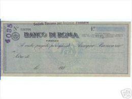1930 - BANCO DI ROMA ASSEGNO NUOVO CON MATRICE - Assegni & Assegni Di Viaggio
