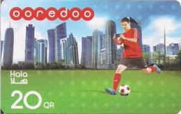 Qatar, Ooredoo Hala Phone Card, Football Player & Towers (20 Rls.) - Qatar
