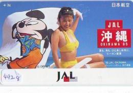 Télécarte Japon * DISNEY * JAL * AIRLINES * 110-165747 *  (4928)  Japan Phonecard * FEMME - Disney