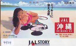Télécarte Japon * DISNEY * JAL * AIRLINES * 110-166329 *  (4929)  Japan Phonecard * FEMME - Disney