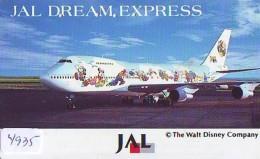 Télécarte Japon * DISNEY * JAL * AIRLINES * 110-158398  (4935)  Japan Phonecard *  AIRPLANE - Disney