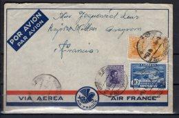 """Uruguay - N° 429 , 431 X2 Et 502 Obli/sur Lettre Pour La France """" Millau """"  Via """" Marseille Gare Avion """" - 1938 - Uruguay"""