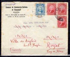 """Equateur - N° 236 Et 238 X2 Obli/sur Lettre Pour La France """" Royat """" Via L'Italie """" Napoli """" - 1928 - Equateur"""