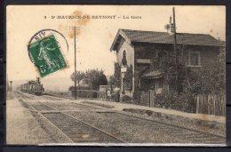 01 - St Maurice De Beynost - La Gare  - Locomotive - Animée - Cachet De Facteur Au Dos - Francia