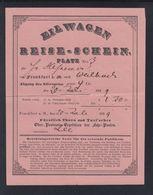Thurn Und Taxis Eilwagen Reise-Schein Frankfurt Am Main Nach Weilbach 1839 - Thurn Und Taxis