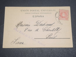 """ESPAGNE - Oblitération De Madrid Sur Carte Postale En 1906 , Griffe """" Grand Hôtel De La Paix """" - L 11970 - Covers & Documents"""