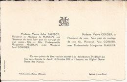 69 VILLEFRANCHE-sur-SAÔNE Et 90 BELFORT - Faire-Part De Mariage Entre Paul CORDIER Et Marguerite MAURIN - 14 Oct 1920 - Wedding