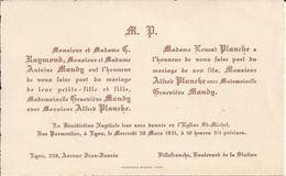69 LYON Et VILLEFRANCHE-sur-SAÔNE - Faire-Part De Mariage Entre Alfred PLANCHE Et Geneviève MANDY - 30 Mars 1921 - Wedding