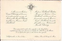 69 VILLEFRANCHE-sur-SAÔNE Et 71 AUTUN - Faire-Part De Mariage Entre Joseph PAILLARD Et Marcelle CHOUSY - 23 Sept. 1923 - Mariage