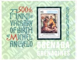 Grenada Grenadines 1975 500th Anniv Birth Of Michelangelo Art Paintings Painting Celebrations People S/S Stamp MNH - Grenada (1974-...)