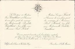 69 VILLEFRANCHE-sur-SAÔNE Et BARCELONE - Faire-Part De Mariage Entre Paul FORET Et Paulette GAUTHIER - 21 Juillet 1923 - Mariage