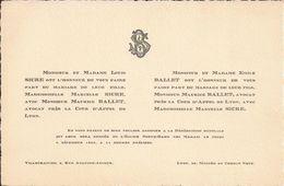 69 VILLEFRANCHE-sur-SAÔNE Et LYON - Faire-Part De Mariage Entre Maurice BALLET Et Marcelle SICRE - 4 Décembre 1924 - Wedding