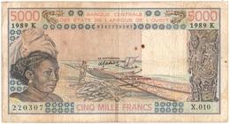 BILLET. BANQUE CENTRALE Des ETATS De L'AFRIQUE De L'OUEST. 5000 FRANCS.1989. - États D'Afrique De L'Ouest