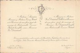 69 VILLEFRANCHE-sur-SAÔNE Et LYON - Faire-Part De Mariage Entre Jos DURAND Et Emma JANOT - 27 Janvier 1923 - Wedding