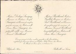 69 VILLEFRANCHE-sur-SAÔNE Et BELLEVILLE - Faire-Part De Mariage Entre Fernand BERTHOUD Et L.-M. LANEYRIE - 10 Juin 1924 - Wedding