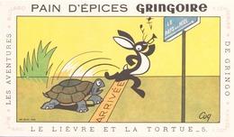 """Buvard Pain D'épices Gringoire """" Le Lièvre Et La Tortue """" 17,5 X 10,5 Cm ( Pliure ) - Gingerbread"""