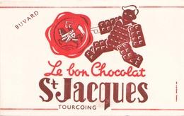 Buvard Le Bon Chocolat St-Jacques Tourcoing 21 X 13,5 Cm ( Pliure, Taches ) - Cocoa & Chocolat