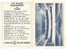 Dépliant Calendrier - Les Salles Gaumont De Paris, Cinéma, 1957  ( VP ) - Big : 1941-60