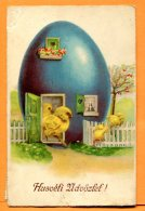 U065, Poussin Sortant De Leur Maison En Forme D'oeuf, 7346-2, Circulée - Easter