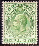 FALKLAND ISLANDS 1912 SG #60 ½d MH Yellow-green Wmk Mult Crown CA Perf.13½x14 - Falkland Islands