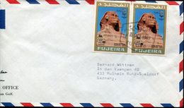 29822 Fujeira, Circuled Cover With 2 Stamp Showing A Sphynx - Aegyptologie