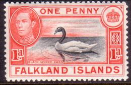 FALKLAND ISLANDS 1938 SG #147a 1d MH Black And Vermilion Swan - Falkland Islands
