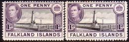 FALKLAND ISLANDS 1941 SG #148,a 1d MLH Black And Violet (purple-violet) Two Shades - Falkland Islands