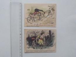 CHROMO Imprimerie BELLEVILLE: HUMOUR En Vélo - Lot 2 Différents Même Série - Illustrateur MOLOCH - HERMET - Cromo