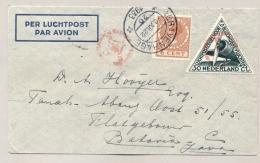Nederland - Nederlands Indië - 1933 - Driehoekzegel Op Postjagervlucht Van Den Haag Naar Batavia - Nederlands-Indië