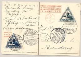 Nederlands Indië - 1933 - Postjagervlucht Van Amsterdam Naar Bandoeng, Retour Per Pelikaan - Speciale Kaart - Nederlands-Indië