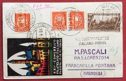 PADOVA  1934 XII  CARTOLINA CON BELLA AFFRANCATURA +ANNULLO SPECIALE+  ERINNOFILO  XXI CONGRESSO FILATELICO ITALIANO - Marcofilía