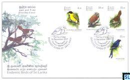 Sri Lanka Stamps 2017, Endemic Birds, Owl, FDC - Sri Lanka (Ceylon) (1948-...)