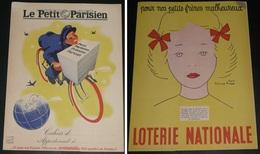 Rare Ancien Protège-cahier Publicitaire Le Petit Parisien/Loterie Nationale, WW2 1941-42, D'après René Ravo Yvonne Roger - Book Covers
