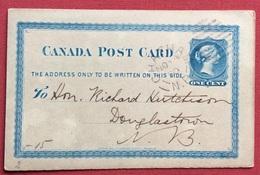 CANADA POST CARD  ONE CENT DA CHATHAM N.P. A DOUGLASTON  IN DATA 4/11/1880 - 1851-1902 Regno Di Victoria