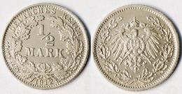 1/2 Mark Silber EMPIRE Kaiserreich 1912 A Jäger Nummer 16    (r1282 - [ 2] 1871-1918 : Imperio Alemán