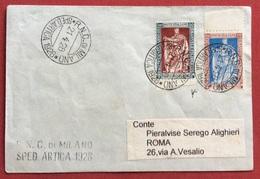 SPEDIZIONE ARTICA 1928  R.N.C. DI MILANO 21/4/28  BUSTA CON FILIBERTO 30+20 AL CONTE PIERALVISE SEREGO ALIGHIERI RR - Storia Postale